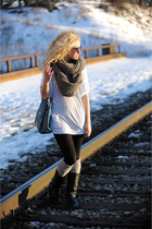 black Steve Madden boots - gray Urban Outfitters scarf - blue Kooba bag