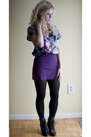 purple American Apparelel skirt - purple ecote top - black Deena & Ozzy boots -