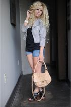 black lucca couture jacket - beige Badgley Mischka purse - black lucky shoes