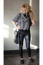 black American Apparel sweater - black American Apparel leggings - black Aldo sh
