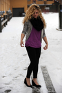 Black-bdg-pants-black-aldo-shoes-purple-american-apparel-t-shirt-brown-hoo