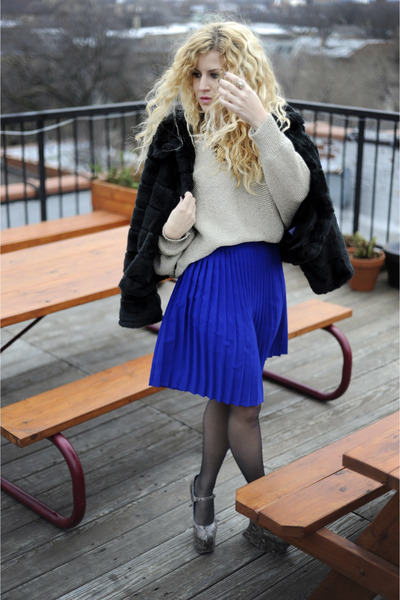 sweater - Jeffrey Campbell boots - liz claiborne coat - American Apparel skirt