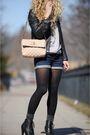 Brown-gap-jacket-blue-bdg-shorts-gray-silencenoise-sweater-black-deena-and