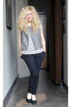 black BCBG pants - beige f21 top - gray f21 vest - black Aldo shoes