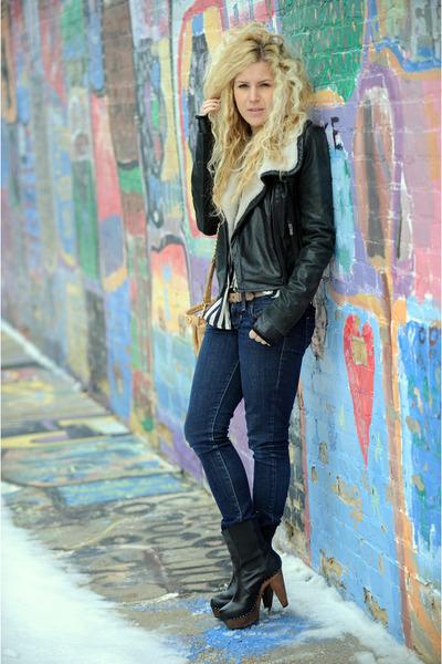 BCBG jacket - Guess jeans - Nyla boots - Badgley Mischka bag - knt by kova and t