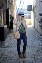 Steve Madden wedges - Levis jeans - BDG hat - Zara jacket - Badgley Mischka bag