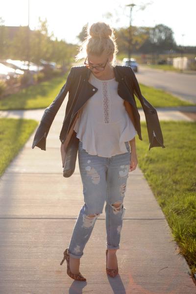 pitaya top - BDG jeans - Zara jacket - BCBG bag - Nine West heels
