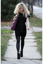black rachel rachel roy dress - black American Apparel leggings - black Steve Ma