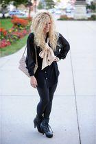 black American Apparel blouse - beige American Apparel tie - black rachel rachel