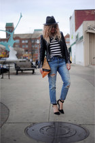 leather Zara jacket - J Crew jeans - J Crew hat - asos shirt - wink and winn bag