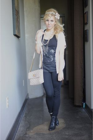 black BDG pants - beige Marc Jacobs purse - pink f21 cardigan - black deena and