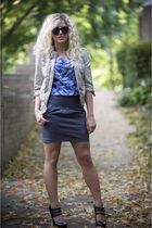 black Steve Madden shoes - beige Zara jacket - gray Silence  Noise skirt