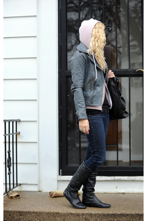 pink American Apparel sweater - gray For Joseph jacket - black American Apparel
