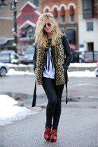 f21 vest - BCBG jacket - banana republic sunglasses - co spottedmothcom heels