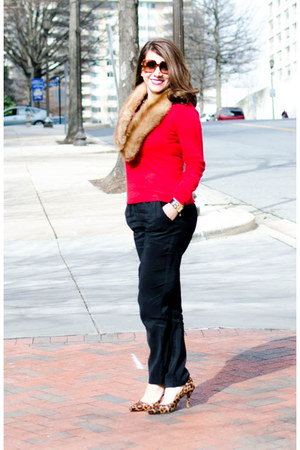 cashmere ann taylor sweater - leather Nine West shoes