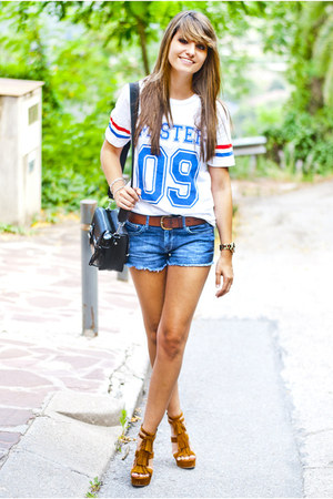 white Choies t-shirt - blue H&M shorts - tawny Marypaz sandals