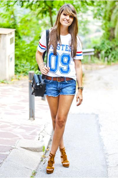 white Choies t-shirt - blue H&M shorts - tawny Marypaz sandals