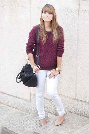 white Mango jeans - magenta Sheinside sweater