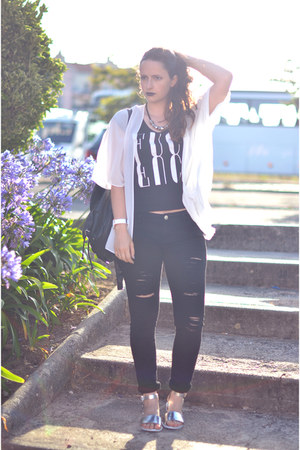 black Stradivarius jeans - black Primark bag - white Primark blouse