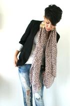 black Topshop blazer - white Zara top - blue no tag jeans - beige Zara scarf - s