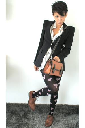 pink Topshop tights - brown Topshop shoes - black Zara blazer