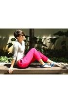 silver knitted Zara sweater - carrot orange slim Zara belt - hot pink ankle graz