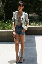 light pink sequined Topshop jacket - blue high waisted Topshop shorts - heather