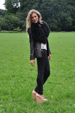 black Topshop jacket - vintage scarf - white Topshop blouse - pink Kurt Geiger s