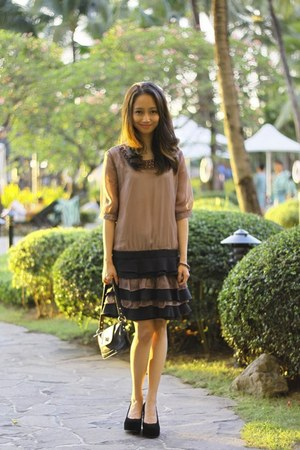 black Mango bag - light brown ruffled sheer dress - black Pepita Shoes heels