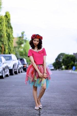 bubble gum Miu Miu flats - hot pink off shoulder Miss Selfridge top