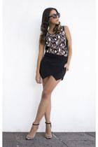black Zara shorts - black H&M shirt - nude Zara heels