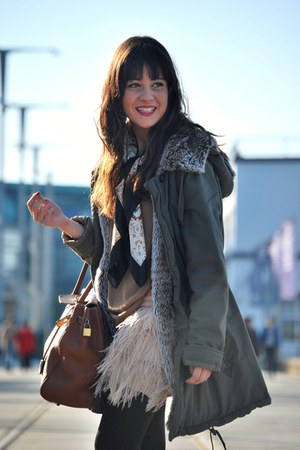 dark green jacket - tawny bag - bronze jumper - light pink skirt