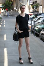 thifted coach bag - American Apparel shorts - Report wedges
