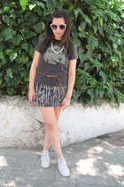 no brand shirt - Converse shoes - no brand skirt - Bershka sunglasses - Zara bel