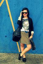 green Zara skirt - white Zara blouse - black Bershka blazer
