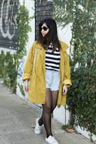 mustard thrifted vintage coat - periwinkle Levis shorts - navy Zara t-shirt
