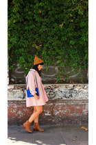 mustard H&M hat - blue vintage purse - white Zara blouse