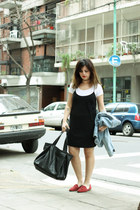 black Zara dress - Zara bag - magenta DV by Dolce Vitta loafers - white Zara top