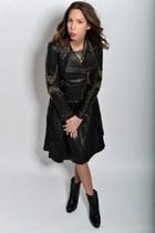 gold Trussardi blouse - leather asos skirt