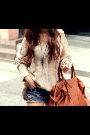 light orange Bershka bag - sky blue Forever21 shorts - beige H&M blouse