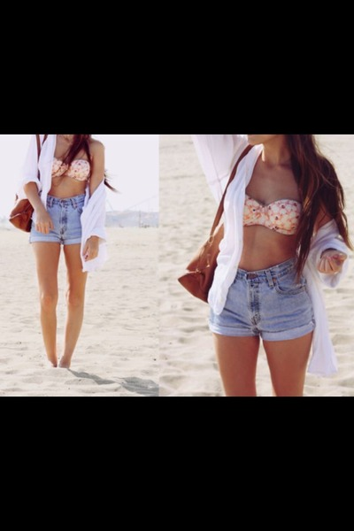 pink H&M bra - tawny Bershka bag - sky blue H&M shorts