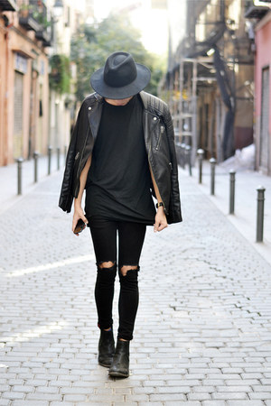 black Zara hat - black Topman jacket - black Daniel Wellington watch