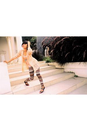 tube top top - kebaya top - leggings - heels
