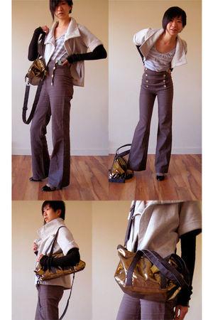 gray ROOTS sweater - brown Sweet Soul pants - Gap top - gold Zara purse - black