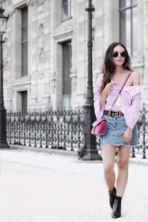 Allura Boutique shirt - Zara boots - Gucci bag - Forever 21 sunglasses