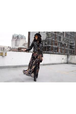 Zara boots - Band of Gypsies dress - Forever 21 hat - Zara jacket