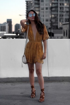 Morning Lavender romper - Gucci bag - Forever 21 sunglasses - Aldo sandals