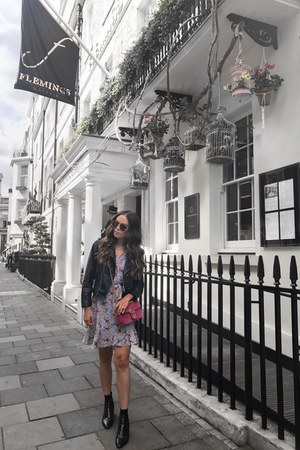 Zara boots - Topshop dress - Zara jacket - Gucci bag - le chateau sunglasses