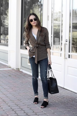 Forever 21 sunglasses - le chateau jacket - Chanel bag - Zara t-shirt