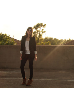 navy banana republic jeans - black Target blazer - white Forever21 top - brown w